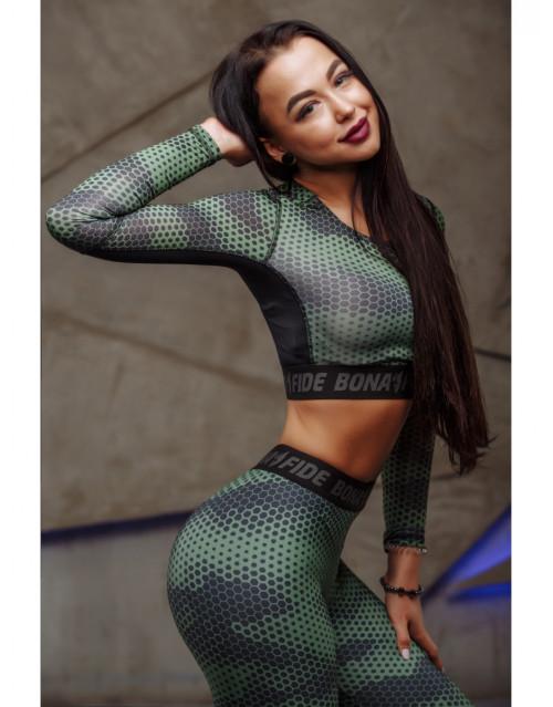 "Укороченный рашгард Bona Fide: Rashguard Mini Brand Pro ""Green Grid"""